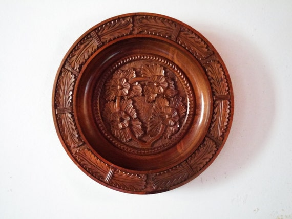 Items Similar To Large Wood Plate, Carved Medallion, Wall