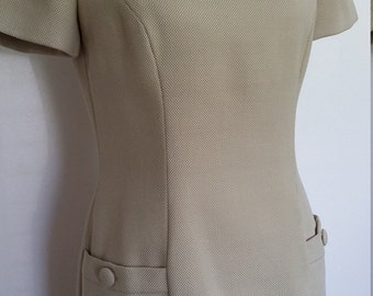 Ann Taylor dress, S, M, khaki dress, beige dress, MadMen dress, tan dress,fall dress, fall suit, 50's dress, 60's dress