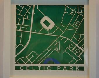 Celtic FC - Celtic Park - Laser cut map - White