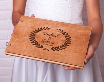 Rustic guest book Wedding guestbook Custom Engraved Wooden guest book Monogram Laurel Leaves Wedding guest book Unique guest book ideas