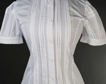 Womens Victorian Style Edwardian Plain White Button up Blouse ~ Made to Order
