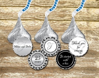 Hershey Kisses Stickers - Black and Silver Wedding Kisses, 25th Anniversary Kisses, Silver Anniversary Kisses, wedding stickers