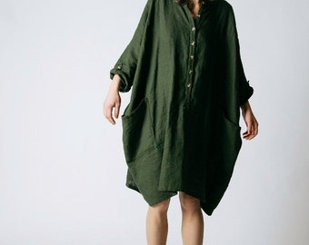 Linen emerald green free size dress