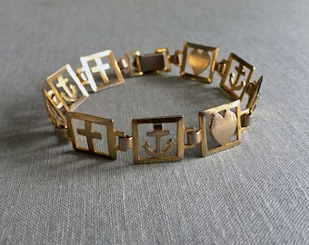 Vintage FAITH. HOPE. LOVE - Cross. Anchor. Heart - Gold Link Panel Bracelet - Victorian Revival Style