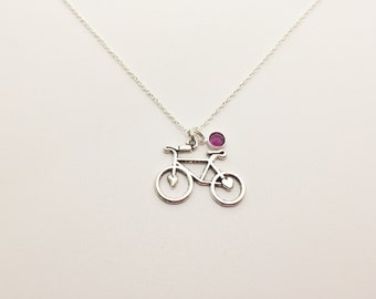 Antique Silver Bicycle Necklace with Birthstone Gift for Bicyclist, Bike Rider, Bicycle, Bike, Bike Racer, Hiker, Bike Race Jewelry