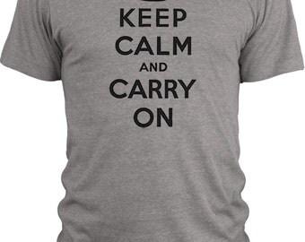 Big Texas Keep Calm and Carry On (Black)  Vintage Tri-Blend T-Shirt