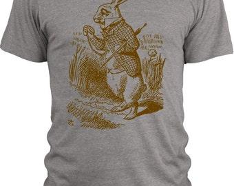 Big Texas Alice in Wonderland - The White Rabbit (Brown) Vintage Tri-Blend T-Shirt