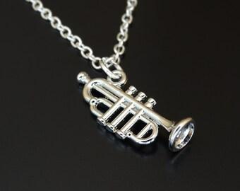 Trumpet Necklace, Trumpet Charm, Trumpet Pendant, Trumpet Jewelry, Trumpet Instrument, Orchestra Necklace, Orchestra Jewelry, Musician Gifts