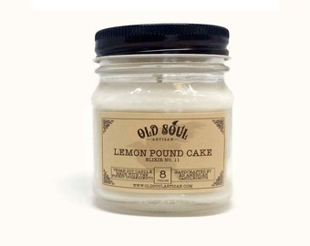 Lemon Pound Cake Soy Candle, Vegan Candle, Hand Poured Soy Candle, Scented Candle, Gift wrapped Jar Candle