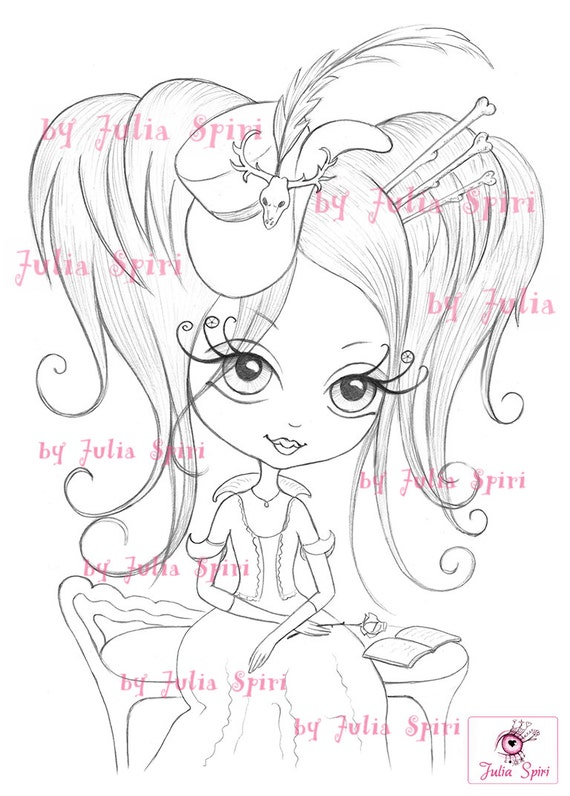 Digital stamps vintage digi little girl big eyes gothic for Chinchilla coloring pages to print