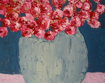 Large Pink & Blue Acrylic Flower Mixed Media Painting. Handmade Canvas Art Floral Painting. Hand Painted Wall Art. Cottage Chick Decor 139