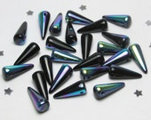Czech Glass Spike Cone Bead 13mm x 5mm - Opaque Jet Black Metallic AB Aurora Borealis - 25 beads - Fringe Bead, Oil Slick, Night Goth Drama