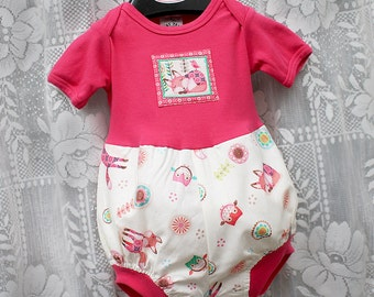 Woodland Animals Baby Girl Romper Owl Fox Baby Girl Bubble Romper Baby Girl Gift Baby Romper Baby Girl Clothes sizes 3 6 9 12 18 or 24 month