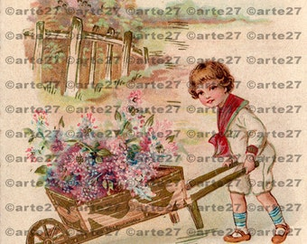 Vintage postcard to the birthday boy with flowers, gardener to the direct digital download, dachshund, 3 files