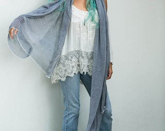 Extra Long Grey Scarf, Lightweight Thin Scarf Wrap, Semi Sheer, Fall Spring Summer Scarves, Womens Gift