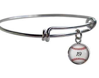 Baseball Bracelet, Personalized Adjustable Bangle, Baseball Gift, Sports Jewelry, Baseball Mom, Baseball Player