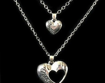 Mother Daughter Heart CutOut Mother's Day Heart Necklace