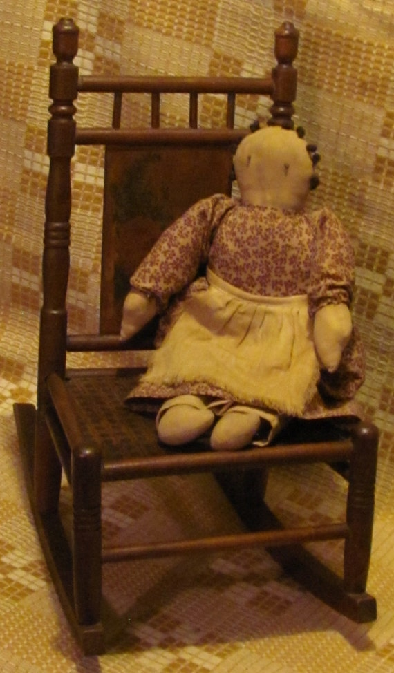 Antique Toy Rocking Chair Turned Wooden Spindles Decorative Floral ...