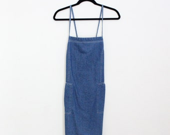 Vintage 1990's Denim Summer Dress / Esprit / Criss-cross straps / 90s