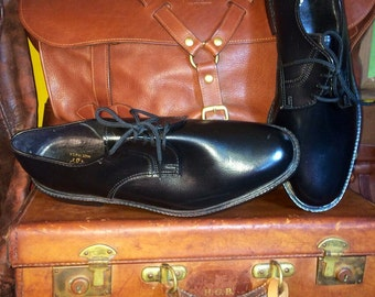 Vintage JB Vegan Smooth Toe Oxfords Black Men's Dress Shoes Size 12W--Made in the USA