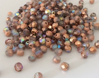 100 Pcs, 4mm Faceted Round Fire Polished Beads, Etched Crystal Copper Rainbow