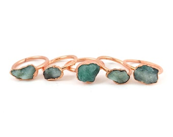 Raw Emerald Ring, Rough emerald ring, Emerald birthstone ring, Raw stone jewelry, Raw emerald jewelry, May birthstone, Electroformed Copper