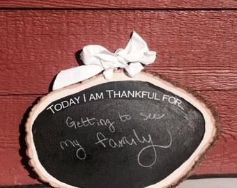 "Wood Round Chalkboard ""Thankful"" Wall Hang"