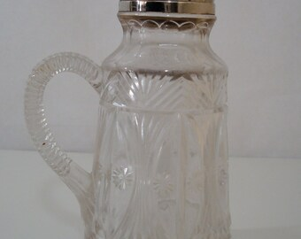 Vintage Syrup Pitcher Cut Glass with Silver Lid