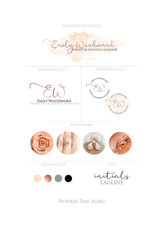 Branding package logo package rose gold logo by printablepixel for Create blog logo