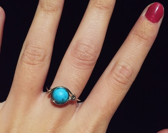 Touch of Turquoise Wire Wrapped Ring