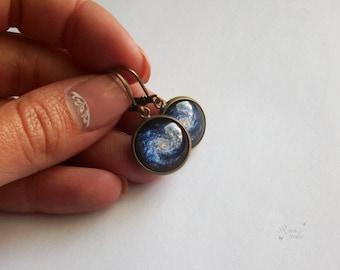 Blue Galaxy Earrings, Space Jewelry, Solar System Leverback Earrings, Universe Glass Dome Earrings, Gift Jewelry For Her, Cosmic Earrings