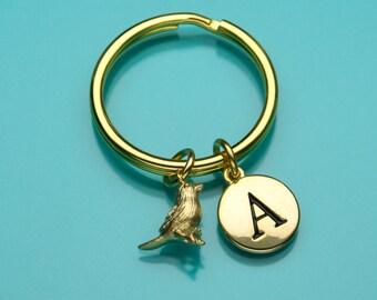 Fat Sparrow Keychain, Gold Fat Sparrow Key Ring, Bird Charm Keychain, Initial Keychain, Personalized Keychain, Custom Keychain, 484