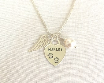 Sterling Silver Pet Memorial Necklace, Paw Print, Cat Loss, Dog Memorial Necklace, Pet Remembrance Jewelry, Loss of Pet, Personalized Wing