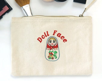 Canvas 'Doll Face' Russian Doll Embroidered  make up bag
