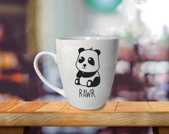 Panda Mug - Rawr - Valentines Day Gift - Morning Coffee Mug With Cute Animal