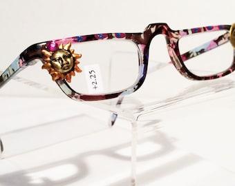 Reading Glasses Sun Moon +2.25, Vintage Eyeglasses, Crystal eyeglass, Purple, Blue, Black, Celestial, Hand Painted, Moon Stars