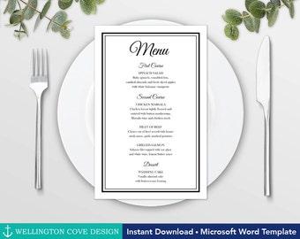 free wedding menu templates for microsoft word