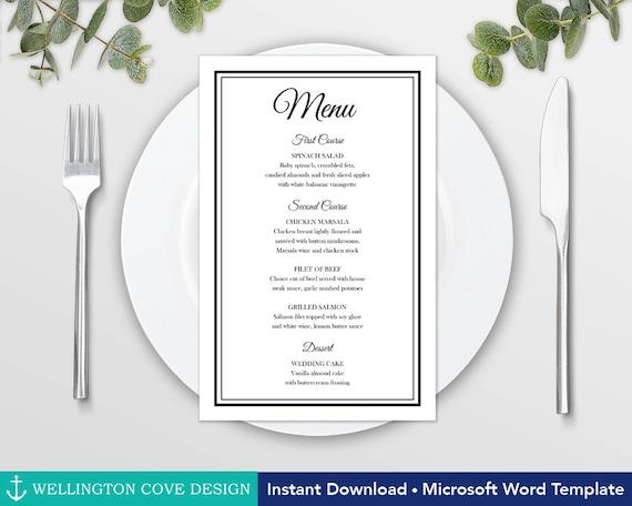 printable wedding menu template for microsoft word elegant