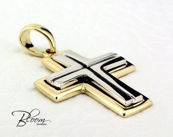 Gold Cross for Man 14K Solid Gold Cross Pendant Mens Cross Necklace Gold Necklace For Man Gold Cross Pendant Gold Cross Necklace