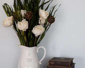Dried Floral Arrangement | Dried Florals in Rustic White Pitcher Vase | Rustic Decor | Farmhouse Decor