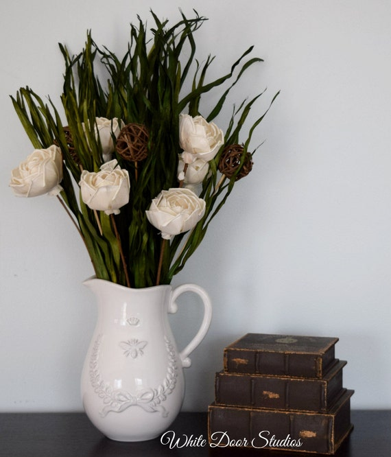Dried Floral Arrangement Dried Florals In Rustic White