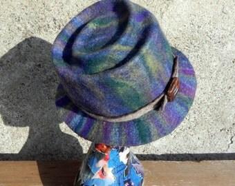 Felted spiral top hat blue green