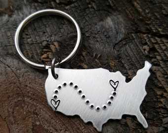Best Friend gift Long Distance Friendship State keychain USA Map Keychain Long Distance Relationship gift couples gift girlfriend gift BFF