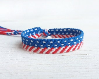 4th of July American flag woven friendship bracelet, National patriotic best friend gift, Boho teen macrame, Braided & knotted bracelet