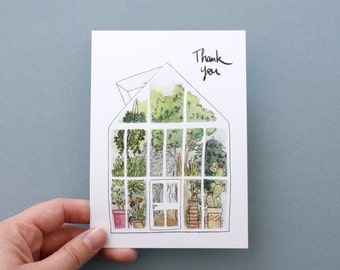 THANK YOU card. Watercolor greenhouse. A6 card.