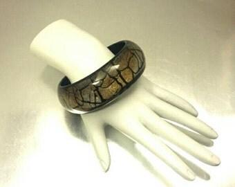 Vintage Acrylic Abstract Print Bangel Bracelet