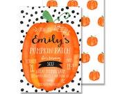 Pumpkin Patch Birthday Party Printable DIY Invitation - 5x7 Customized Printable Pumpkin Watercolor Modern Fall Preppy Black White Polka Dot