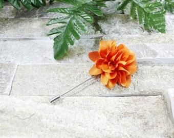 Orange lapel flower. Lapel flower. Lapel pin. Flower lapel. Man lapel pin. Brooch. Flower lapel pin. Mens flower lapel. Lapel pins men.