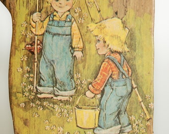 """Vintage 1974 """"Nifty Drifty"""" Wall Hanging Two Boys Fishing Print by Joan Mitchell"""
