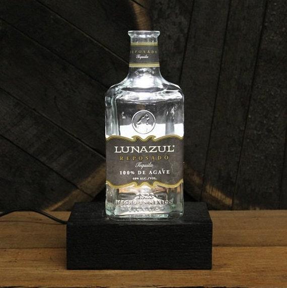 Lunazul Tequila Bottle LED Light / Reclaimed Wood Base & LED Desk Lamp / Handmade Tabletop Lamp / Upcycled Tequila Liquor Bottle Lighting